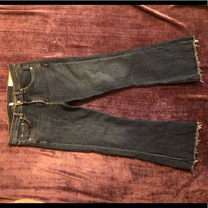 Flare frayed jeans